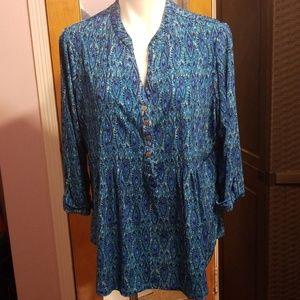 Womans peacock pattern blouse